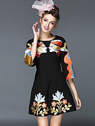 Autumn Vintage Fashion Embroidery Plus Size Women Clothing Luxury Elegant Colorful 3/4 Sleeve Dress