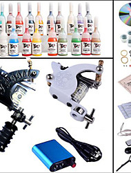 Tattoo Maschine komplette Kit Set 2 Pistolen Maschinen 20pcs Tattoofarbe Tattoo-Kits