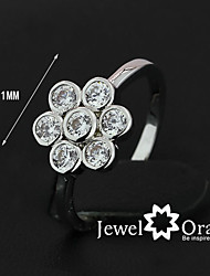 "2015 High Quality Women Fashion Jewelry Elegant ""Flower"" CZ stone Wedding Bends Ring"