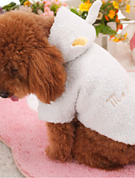 Dog Hoodie White Winter Solid