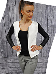 Women's Patchwork White/Black Coats & Jackets , Bodycon/Casual/Party V-Neck Long Sleeve