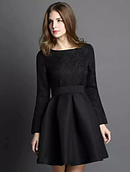 Women's Party Vintage Dress,Solid / Jacquard Round Neck Knee-length Long Sleeve Black Cotton / Spandex Winter