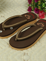 Women's Shoes PVC Flat Heel Flip Flops Slippers Outdoor Black / Brown / Yellow / Green / Pink / Beige