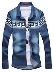 Men's Geometric Pattern Denim Shirt , Cotton / Polyester Casual / Plus Sizes