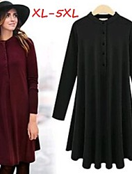 Women's Solid Red/Black Plus Size Dresses , Casual Stand Long Sleeve