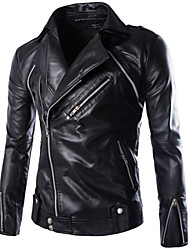 Men's Removable Sleeve Fake Two Artificial Leather Motocyco Jacket