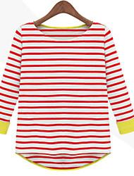 Tee-shirt Aux femmes,Rayé Décontracté / Quotidien simple Automne Manches Courtes Col Arrondi Bleu / Rouge / Noir Moyen
