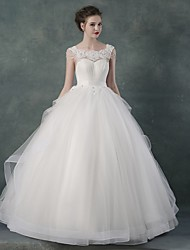 Ball Gown Wedding Dress - White Floor-length Bateau Organza / Satin