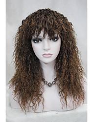 brun moelleux perruque de longs cheveux bouclés perruques de femmes