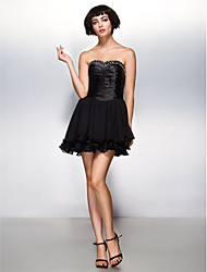 TS Couture® Cocktail Party Dress A-line Sweetheart Short / Mini Chiffon / Stretch Satin with Beading / Criss Cross