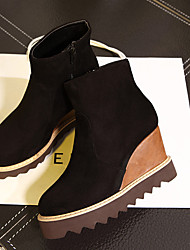 Women's Winter Wedges Fleece Casual Wedge Heel Black / Brown
