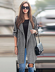 Women's Solid Gray Trench Coat,Plus Size Long Sleeve Cotton