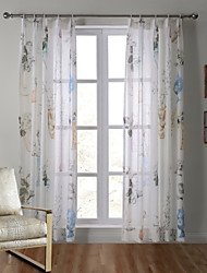 One Panel Country Mediterranean Designer Floral Living Room Linen Sheer Curtains
