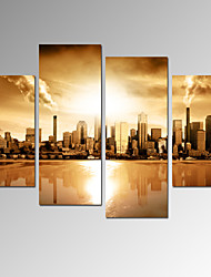 VISUAL STAR®Vintage Cityscape Canvas Wall Decor Art - City Scenery Picture Print on Canvas with Frame Ready to Hang
