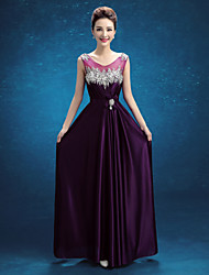 Formal Evening Dress - Grape A-line Scoop Floor-length Satin