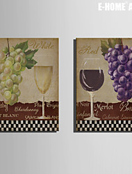 E-HOME® Stretched Canvas Art Grape And Wine Decorative Painting Set of 2