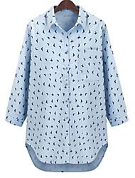 Women's Polka Dot Blue / White Blouse , Shirt Collar Long Sleeve