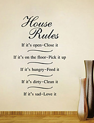 Wall Stickers Wall Decals Style House Rules English Words & Quotes PVC Wall Stickers