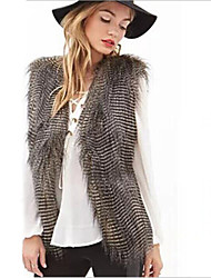 Women's Fashion Faux Fur Pawie Piora Sleeve Vest