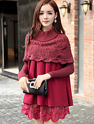 Women's Vintage / Casual / Lace / Cute / Party Solid / Patchwork / Lace A Line / Loose / Ball Gown Dress , Stand Above KneeLace / Cotton