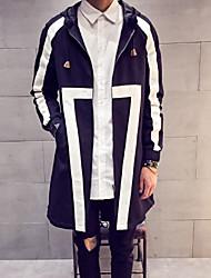 Men's Long Sleeve Long Trench coat , Cotton Plaids & Checks / Pure