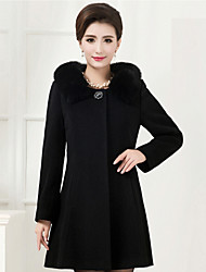 Women's Coat,Solid V Neck Long Sleeve Winter Black Cotton / Others Medium