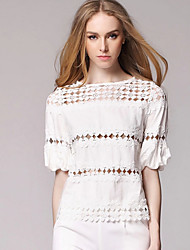 Women's Jacquard White Blouse