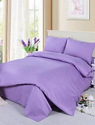 concisa de color de 4 piezas juego de cama de algodón sólido