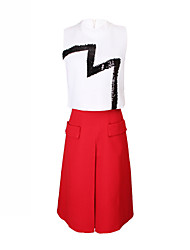 Women's Solid Color Red / White / Black Suits , Casual Round Sleeveless