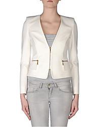 Women's Simplicity Casual Long Sleeve Zipper Polyester  Short Regular Blazer