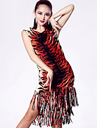 Latin Dance Dresses Women's Performance Nylon / Spandex / Polyester Tassel(s) 1 Piece Black / Red / Tiger Stripes
