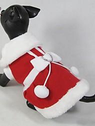Abrigos / Vestidos para Perros / Gatos Rojo Invierno Navidad / Año Nuevo XS / S / M / L / XL / XXL Polar Fleece