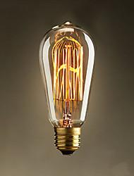 E27 40W ST58 Straight Wire Nipple Edison Tungsten Art Lighting Decoration Light Source