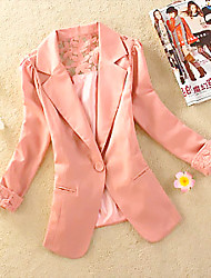 Women's Solid / Lace Pink / White / Black / Yellow Blazer , Sexy / Lace / Work Shirt Collar Long Sleeve    LS