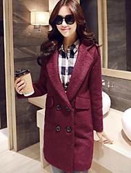 Women's Solid Red Coat , Vintage / Work Long Sleeve Wool