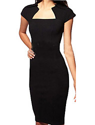 Women's Solid Black Dress , Sexy Square Neck Short Sleeve
