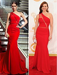 TS Couture Military Ball / Formal Evening Dress - Ruby Plus Sizes / Petite Trumpet/Mermaid One Shoulder Sweep/Brush Train Chiffon