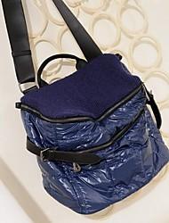 Women PU Barrel Shoulder Bag - Blue / Black