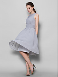 Knee-length Georgette Bridesmaid Dress A-line Scoop with Draping / Ruching
