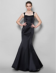 Mermaid / Trumpet Square Neck Floor Length Lace Satin Bridesmaid Dress with Lace by LAN TING BRIDE®