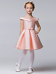 A-line Knee-length Flower Girl Dress - Polyester Sleeveless Off-the-shoulder with