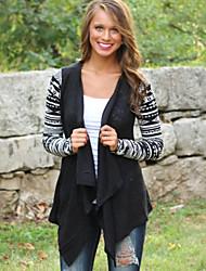 Damen Geometrisch Mantel,Herbst Kapuze Langarm Schwarz Dünn Polyester
