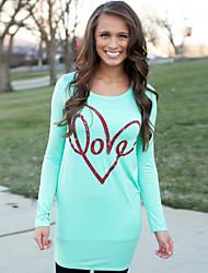 Women's Print Green Blouse , Round Neck Long Sleeve