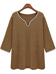 Women's Solid White / Green / Khaki Blouse , V Neck ¾ Sleeve