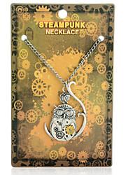 Vintage Steampunk Gear Owl Pendant Necklace