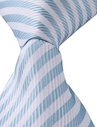Classic Striped Blue White Jacquard Woven Silk Men Necktie