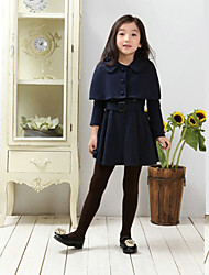 Vestido Chica de - Primavera / Otoño - Mezcla de Algodón - Azul / Rojo