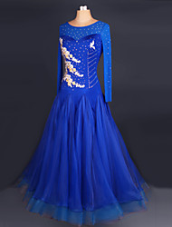 Ballroom Dance Dresses Women's Performance Chinlon / Crepe Crystals/Rhinestones 1 Piece Purple / Royal Blue