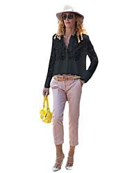 Women's Patchwork / Lace White / Black Shirt , V Neck Long Sleeve