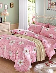 Pink Flower Cotton Bedding Set Of 4pcs Four Seasons Use